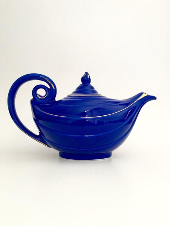 Vintage teapot hall cobalt blue aladdin teapot blue teapot - Aladdin teapot ...