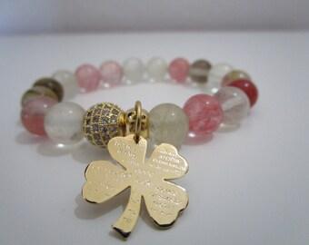 Watermelon fluorite bracelet, Bracelet, Womens jewelry, Summer jewelry, Womens stone bracelet, Gift for women, Gift, Natural stone bracelet
