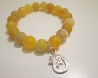 Agate bracelet veins yellow Dragon with 925 Sterling Silver Pendant