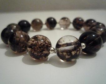 Quartz Black Moss agate bracelet