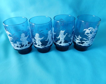 Vintage Libby Glasses Mary Gregory Design set of 8