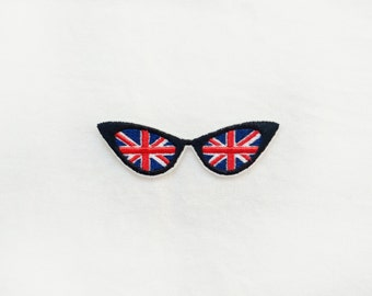 1x UK flag retro sunglasses patch - United Kingdom Queen British Union Jack Iron On  Applique red blue white black