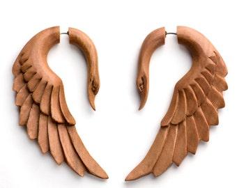Swan Angel Saba Wood Fake Gauges Earrings