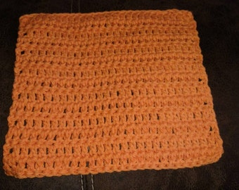 Bright Orange Crocheted Dishcloth
