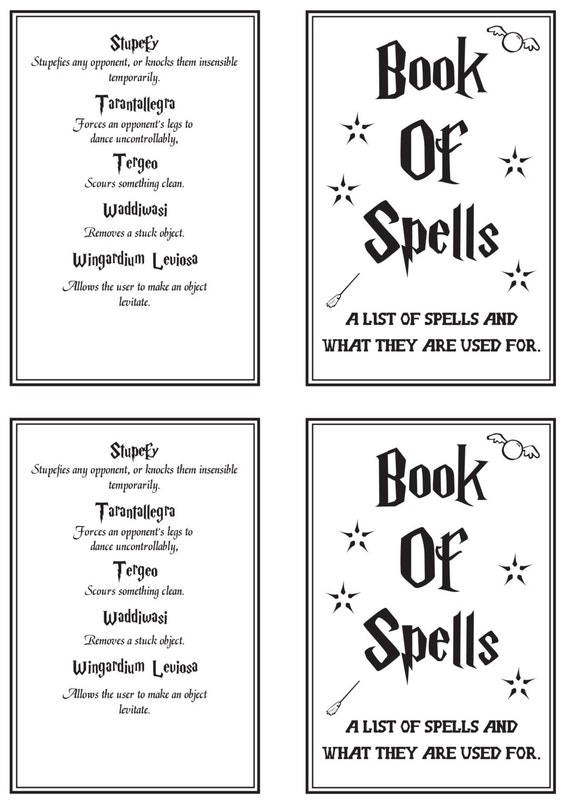 Superb image for harry potter spells list printable