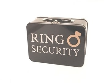 Black Ring Security Box (Ring Bearer Alternative) with Ring Bearer Pillow Insert - Complete with Coloring Book & Crayons