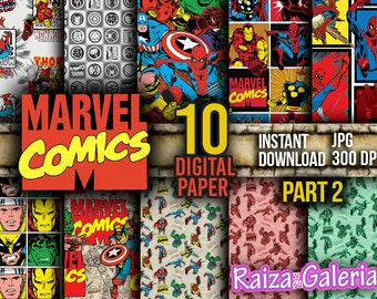 AWESOME Marvel Comic Digital Paper. PART 2 Instant Download - Scrapbooking - Iron-Man Siper-man Thor Hulk Captain America Printable Paper