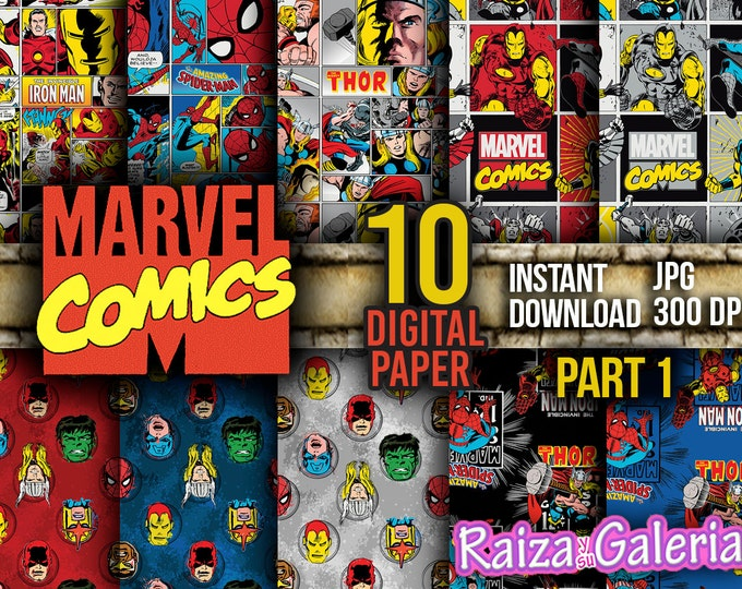 AWESOME Marvel Comic Digital Paper. PART 1 Instant Download - Scrapbooking - Iron-Man Siper-man Thor Hulk Captain America Printable Paper