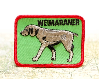 Vintage Wiemaraner Embroidered Patch Dog Show 1970s Breed Lover Gift Novelty Sew On Cloth Uniforms Jackets Back
