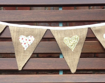 Rustic Bunting with Shabby Chic Appliqued Hearts