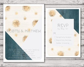 Geo Luxe Wedding Invitation Suite - Print at Home Files or Printed Invitations - Geometric Personalised Wedding Suite