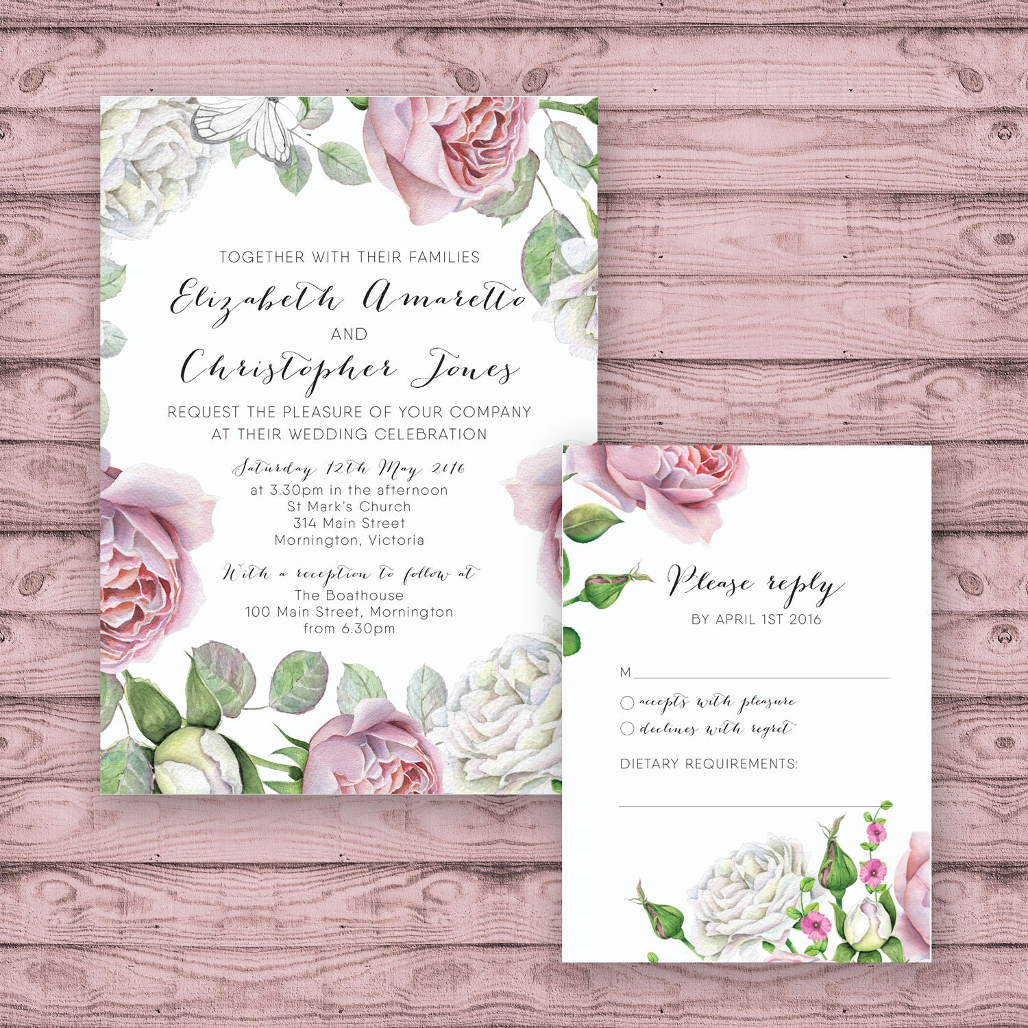 Floral Wedding Invitation Suite   Print At Home Files Or Printed Invitations    Pink White Roses Personalised Wedding Suite   Calligraphy