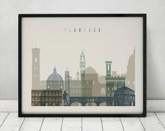 Florence print, Poster, Wall art, Italy cityscape, Firenze skyline, Travel Poster, Typography art, Gift, Home Decor Print, ArtPrintsVicky