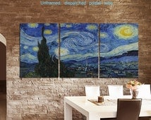 "3 Panel Canvas ""Van Gogh Starry Night"" Print Canvas Wall Art Large unframed Rolled Canvas old Masters Art Print"