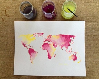 World map with countries watercolors of colors