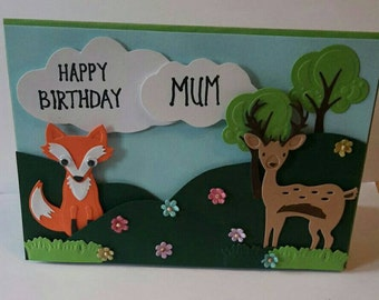 Handmade woodland friends card