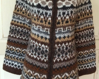 Icelandic Wool Sweater with Zipper - Hand Knitted With Icelandic Wool