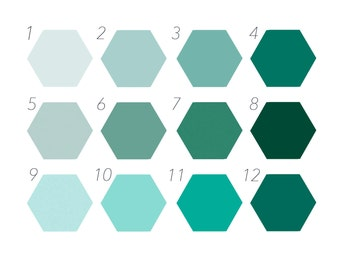 Green Colour Chart, Hexagon Custom Colours, Self Adhesive Wall Art, Removable Wall Decor, Artistic Home Decor