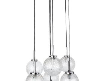 Stunning Mid-Century Modernist Glass Ball Chandelier By Doria