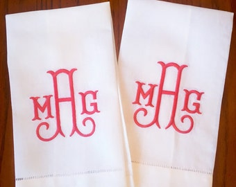Linen Monogrammed Hand Towels - Set of 2