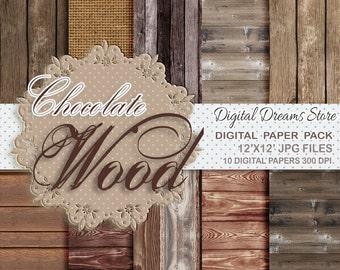"Wood Digital paper: ""CHOCOLATE WOOD"" with background dark wood - old wood texture - wood background - burlap texture - brown wood"