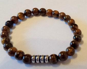 """men's tigers eye beaded bracelet stainless steel 9"""" elasticated"""