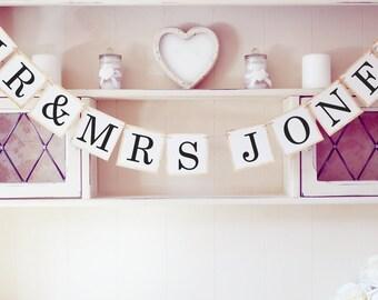 Personalised Mr & Mrs wedding bunting banner, wedding decorations