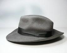Vintage Hutwerke Guben Favorit Grey Felt Fedora, East Germany DDR men's hat, Mid-century