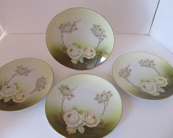 """BEAUTIFUL  6"""" White Rose & Thorn Plates - Set of Four (4)"""