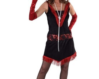 Summer Sale 1920's Flapper Dress - Black / Red