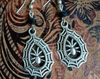 Gothic spider and cobweb earrings