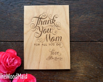 Mother's Day Card Thank you Mom Card Birthday Valentines Day Card Wood greeting card for Mom Thank you Card for Mom and Dad at Wedding