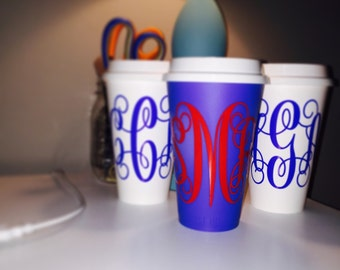 Monogrammed Coffee Cup with Lid