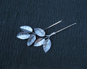 Silver hair accessory Silver bridal hair pin Silver leaf bobby pin Metallic hair accessory Silver hair piece Silver branch Hair vine wedding