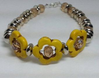 Turquoise Flower Bracelet with Silver Spacers - Yellow