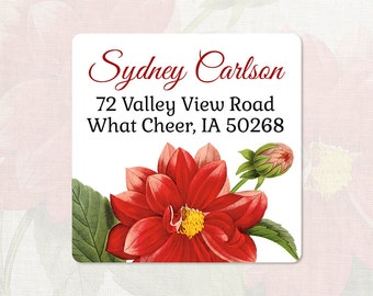 personalized return address label - RED DAHLIA FLOWER - square label - address sticker - set of 48