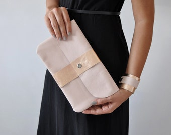 Leather Clutch, Evening Clutch, Soft Pink Handbag