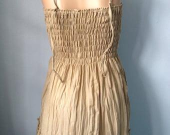 Long Cotton Dress Gipsy Summer Boho Hippie Floaty Fantasy Smocked Beige