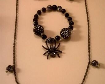 Black spider chain necklace set