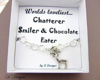 Stag Bracelet, Reindeer Jewellery, Deer Gifts, Stag Charm Bracelet, Charm Bracelet, Trendy Bracelet, Gifts for her