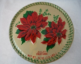 1970s - Shirley Jean Pointsettia Fruit Cake Tin - Antique, Vintage, Retro, Decorum, Christmas