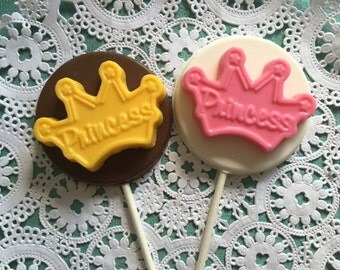 CROWN Chocolate Lollipops(12 qty) Princess/Princess Crown/Crowns/Party Favors/PRINCESS Birthday/Princess Favors/Princess Lollipop/Cinderella