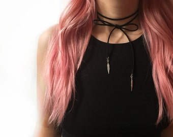 Black suede choker bolo with feather charms