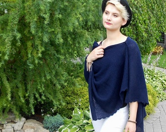 Blue Knit Wrap, Summer Poncho, Knitted Shawl, Blue Shawl, Blue Wrap, Knit Cover Up, Bolero Shrug, Royal Blue Capelet, Bridesmaid Knit Cape