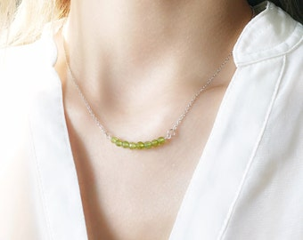 Delicate Peridot Bar Necklace in Solid 925 Sterling Silver / Minimalist Jewelry / Dainty & Delicate Jewellery / August Birthstone / Green