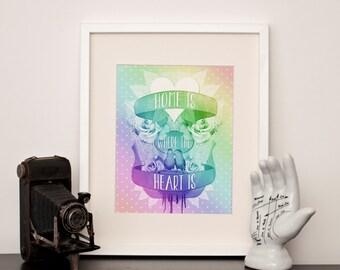 Love Bird, 'Home is where the heart is' - A4 Art Print in Rainbow