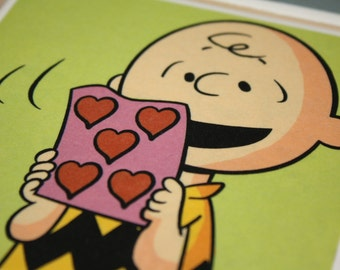 Charlie Brown, Valentines day themed, ceramic tile, drink coasters!  Set of 4!  Charlie Brown Valentine Gift!  Gift for her, hostess gift!