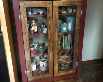 SALE** Rustic Farmhouse Primitive Jelly Cabinet- Pie Safe customizable!