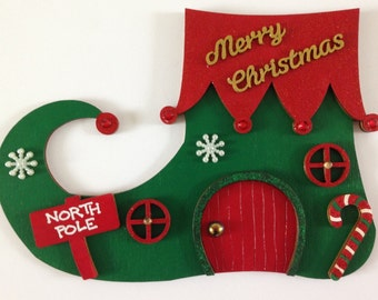 Magical Hand Painted Christmas Elf Door, Elf Boot/Shoe