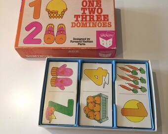 Vintage Retro 1970s 1980s 70s 80s Big Box 'One Two Three' Dominoes game toy